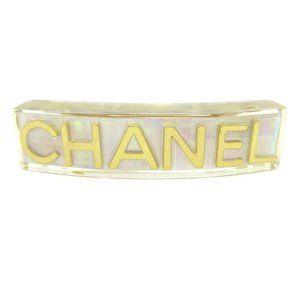 CHANEL CC Logos Hair Clip Hairpin Barrette Clear